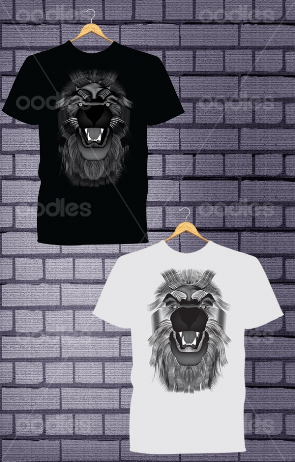 OO00312649-Lion head vector t-shirt design-WM